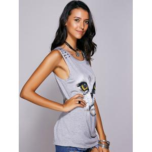 Casual Scoop Neck Printed Studded Tee For Women - GRAY M