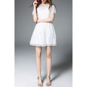 Round Neck Embroidered White Mini Dress -
