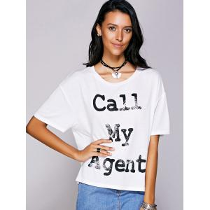Casual Scoop Neck Letter Pattern Short Sleeve Tee For Women