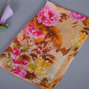 Chic Exuberant Peonies and Leaves Pattern Shawl Wrap Chiffon Scarf For Women -