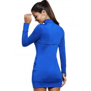 Turtle Neck Long Sleeve Plain Bodycon Dress -