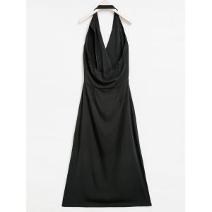 Vintage Halter Sleeveless Backless Double-Breasted High-Low Hem Women's Dress - BLACK S