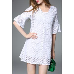 Flutter Sleeve Chevron Cutwork White Dress -