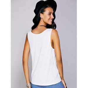 Casual  Scoop Neck Printed Tank Top For Women - WHITE L