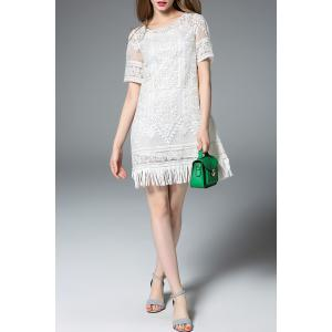Fringed Two-Piece Dress in White -