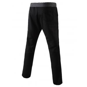 Lace-Up Color Block Splicing design Narrow Pieds pantalons pour hommes - Noir M