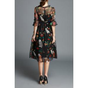 Ruffled Owl Print Silk Dress -