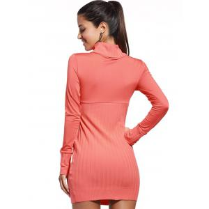 Trendy Marled Turtle Neck Pure Color Long Sleeve Dress For Women - ORANGE RED XL