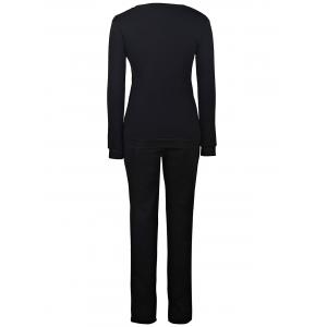 Stylish Jewel Neck Long Sleeves Print Sweatshirt and Pants Suit For Women -