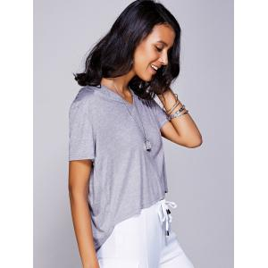 Casual V-Neck High Low T-Shirt For Women - GRAY L