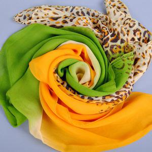 Chic Leopard Pattern Bicolor Patchwork Chiffon Scarf For Women -