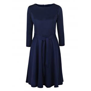 Vintage Round Neck Long Sleeve Pure Color Women's Midi Dress - Deep Blue - M