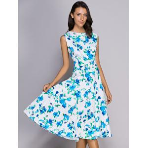 Midi Floral Print Flare Dress - GREEN 2XL