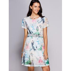 Stylish Round Neck Short Sleeve Printed Belted Dress For Women -