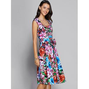 Floral Sweetheart Neck Knee Length Flare Dress - COLORMIX S