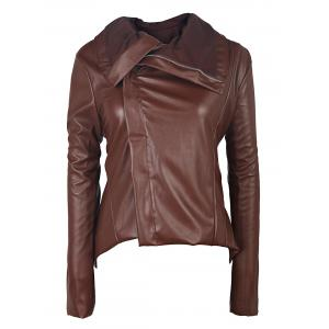 Long Sleeve Asymmetrical Faux Leather Jacket with Fur Collar - Brown - Xl