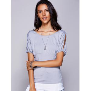 Casual Scoop Neck Cold Shouder T-Shirt For Women - GRAY L