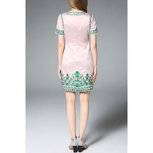 Vintage Embroidered Sheath Dress in Pink -