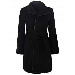 Stylish Turn-Down Neck Long Sleeve Solid Color Belted Women's Coat