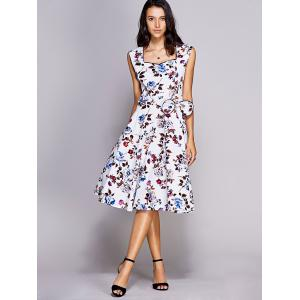 Vintage Sweetheart Neck Bowknot Embellished Floral Women's Dress -