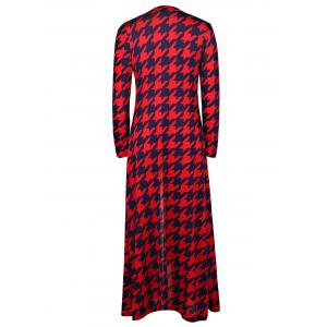 Alluring Plunging Neck 3/4 Sleeve Houndstooth High Slit Women's Dress - RED L