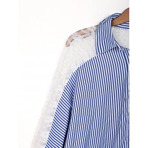 Stylish Shirt Collar 3/4 Sleeve Hollow Out Striped Women's Shirt -