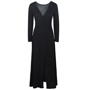 Plunging Neck High Slit Long Sleeve Maxi Dress