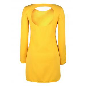 Brief Style Round Collar Long Sleeve Yellow Hollow Out Women's Dress -