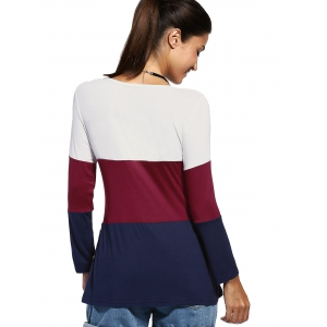 Casual Color Blocks Jewel Neck Buttons Decorated Long Sleeve Tee For Women -