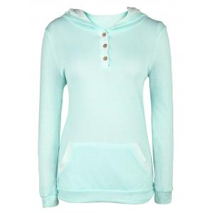 Stylish Hooded Long Sleeve Pocket and Button Design Women's Hoodie - Green - Xl