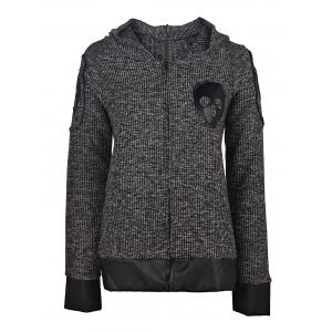 Skull Printed Faux Leather Spliced Zip Up Hoodie For Women - Deep Gray - S