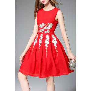 Sleeveless Fit and Flare Red Dress -