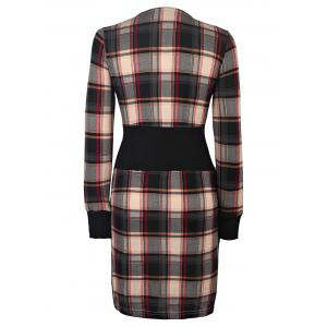 Stylish Scoop Neck Long Sleeve Gingham Slimming Women's Dress -