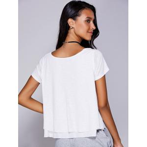 Casual Scoop Neck Ruffled Tiered T-Shirt For Women - WHITE L