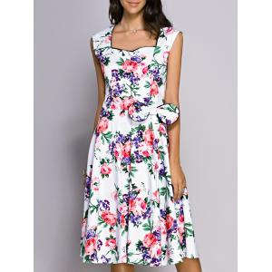 Retro Flower Print Sweetheart Neck Bowknot Embellished Women's Dress