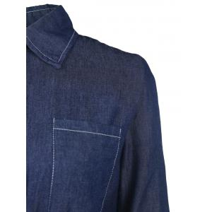 Drawstring Denim Shirt Dress - DEEP BLUE M