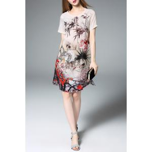 Short Sleeve Ink Painting Silk Dress -