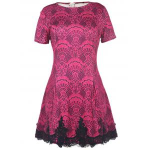 Color Block Crochet Pattern Lace Dress - Rose - S
