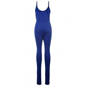 Stylish Spaghetti Strap Solid Color Drawstring Women's Jumpsuit -
