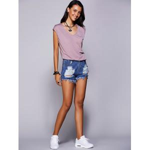 Casual Scoop Neck Short Sleeve Slit T-Shirt For Women - LIGHT PURPLE L