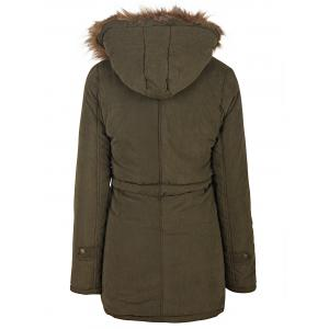 Hooded Parka Drawstring Design Embroidered Fleece Coat For Women - ARMY GREEN 2XL