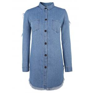 Button Up Ripped Denim Shirt Dress