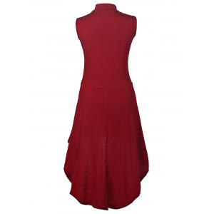 Charming Stand Collar Sleeveless Solid Color Asymmetric Dress For Women -