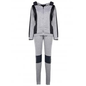 Hooded Faux Fur Spliced Hoodie + Running Pants - Gray - S