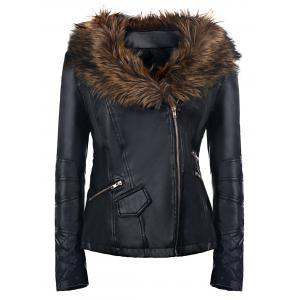 Long Sleeve Faux Leather Jacket with Fur Collar - Black - S