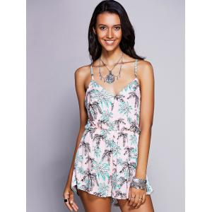 Stylish Strappy Print Cross Back Romper For Women - PINK S