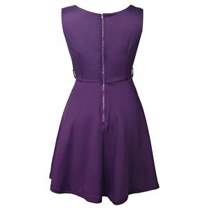 Graceful Round Collar Sleeveless Pure Color Women's Dress -