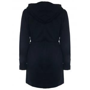 Stylish Long Sleeve Drawstring Hooded Coat For Women - BLACK XL
