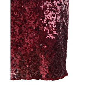 Halter Sequined Sparkly Tight Party Dresses - WINE RED S