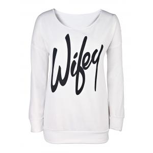 Sexy Letter Printed Slash Neck Pullover Sweatshirt For Women - White - M